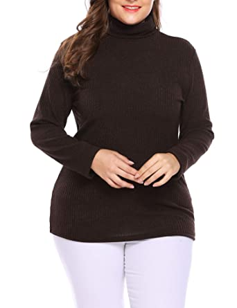 4a7f1568c9 IN VOLAND Women s Plus Size Turtleneck Sweater Pullover Stretch Knit Tunic  Long Sleeve Slim Sweater