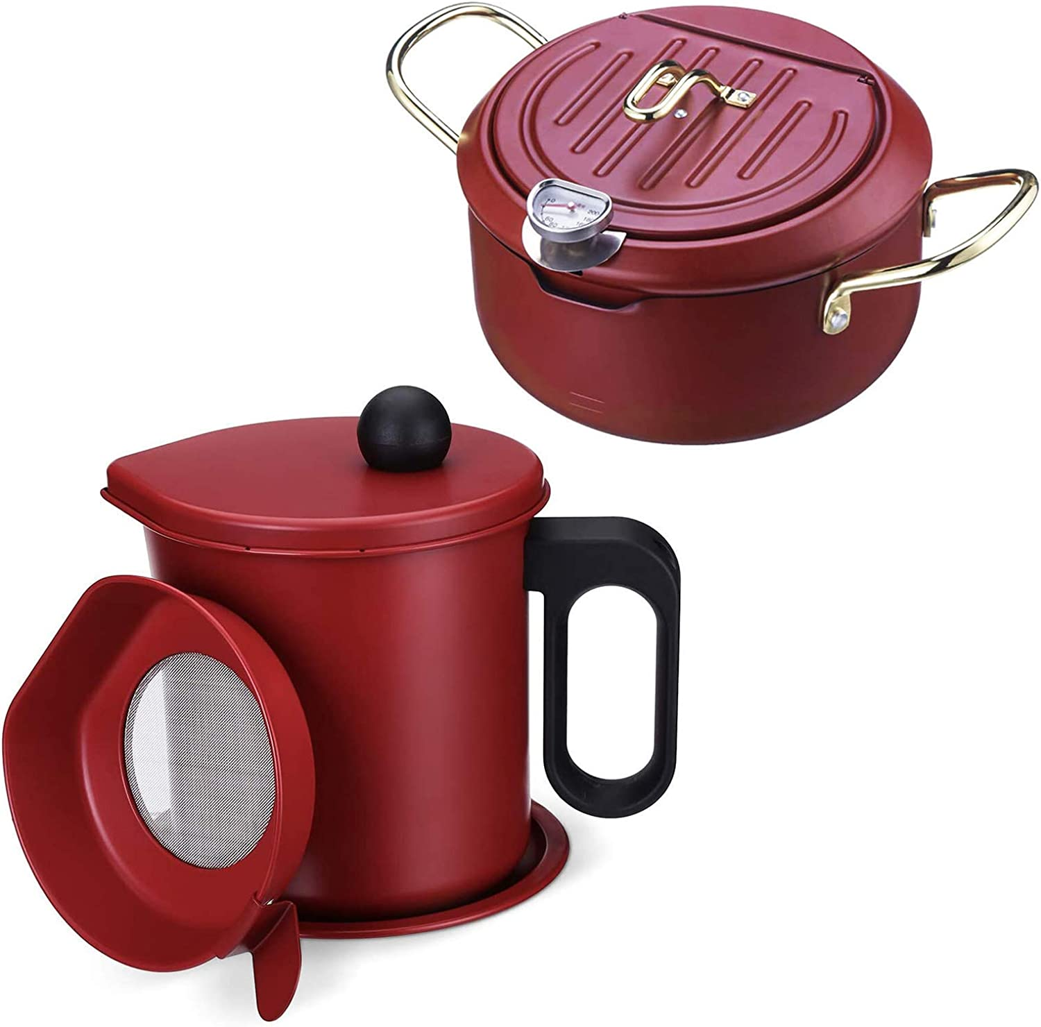 LEPO Kitchen Bacon Grease Container with Fine Mesh Strainer 1.7L and Stainless Steel Deep Fryer Pot with Thermometer