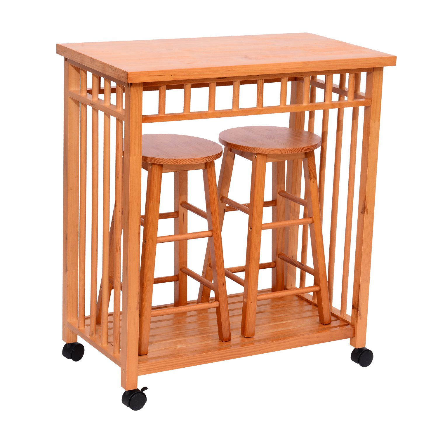 Amazon.com Homcom 32  Rolling Wooden Storage Cart Kitchen Trolley w/ Stools Home u0026 Kitchen  sc 1 st  Amazon.com & Amazon.com: Homcom 32