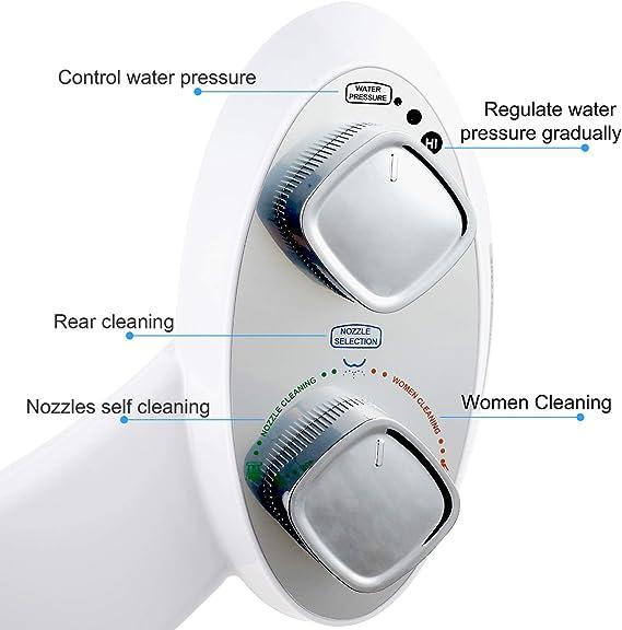 spray de agua fresca no El/éctrica Bidet de /ángulo Ajustable Accesorio de WC de Bid/é Mec/ánico 44 x 16,5 cm doble bot/ón Bid/é boquilla autolimpiante
