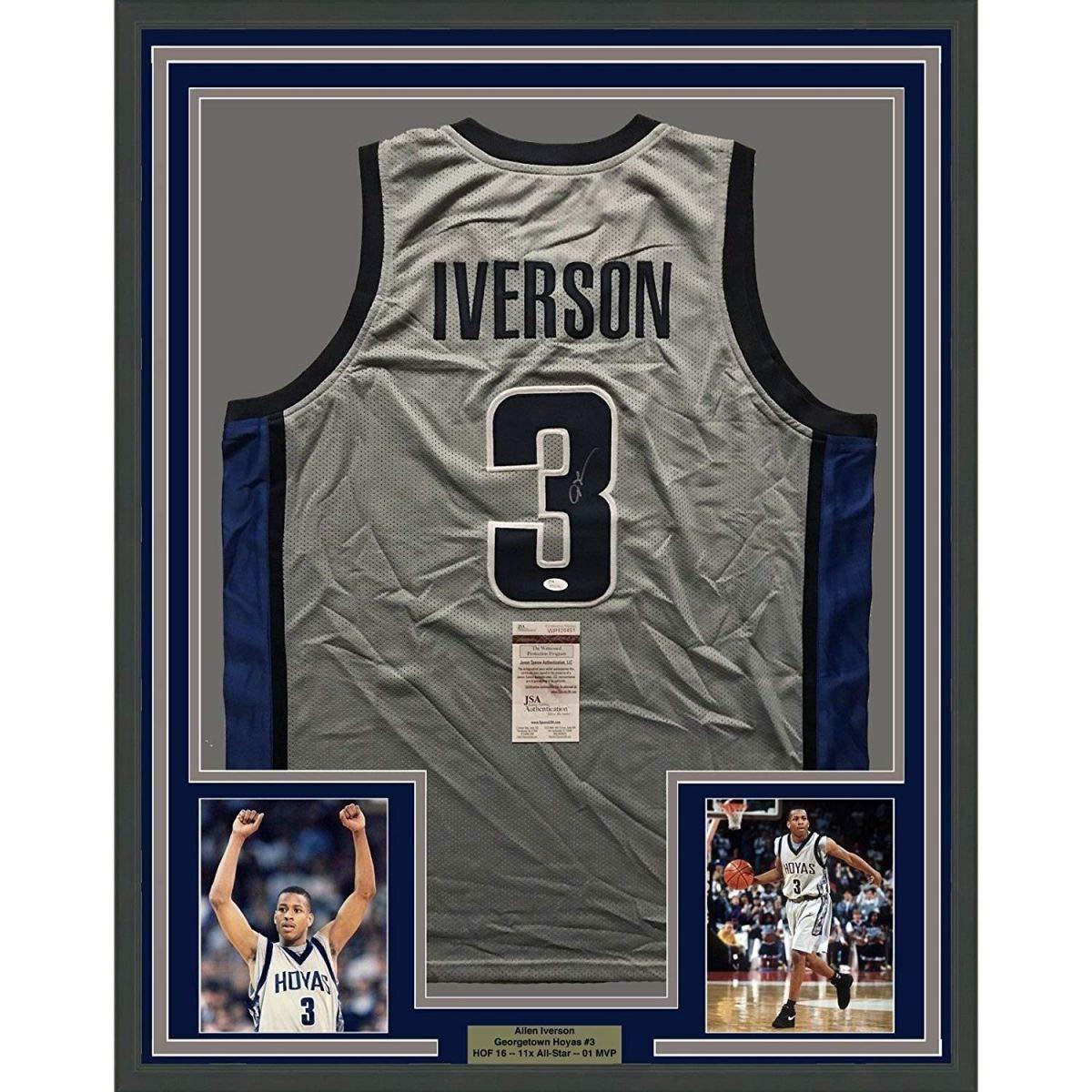 quality design af580 7ce78 Framed Autographed/Signed Allen Iverson 33x42 Georgetown ...