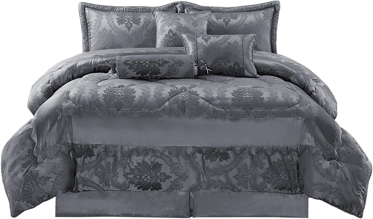 Jacquard Bedding Set for Bedroom Accessories MOONLIGHT20015 Bedspread 7 PC Quilt Comforter Bed Throw Bedspreads and Throws King 255x255cm Betty Dark Grey