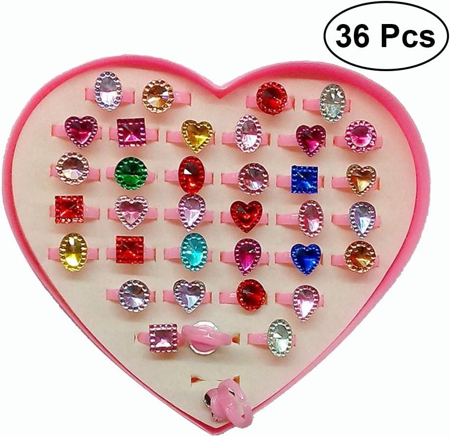 Toyvian Los Anillos Coloridos de la Piedra Preciosa para los niños Brillan con la Vitrina 36pcs de la Forma del corazón