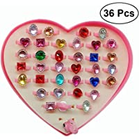TOYMYTOY 36pcs anillos ajustables de las muchachas,anillo