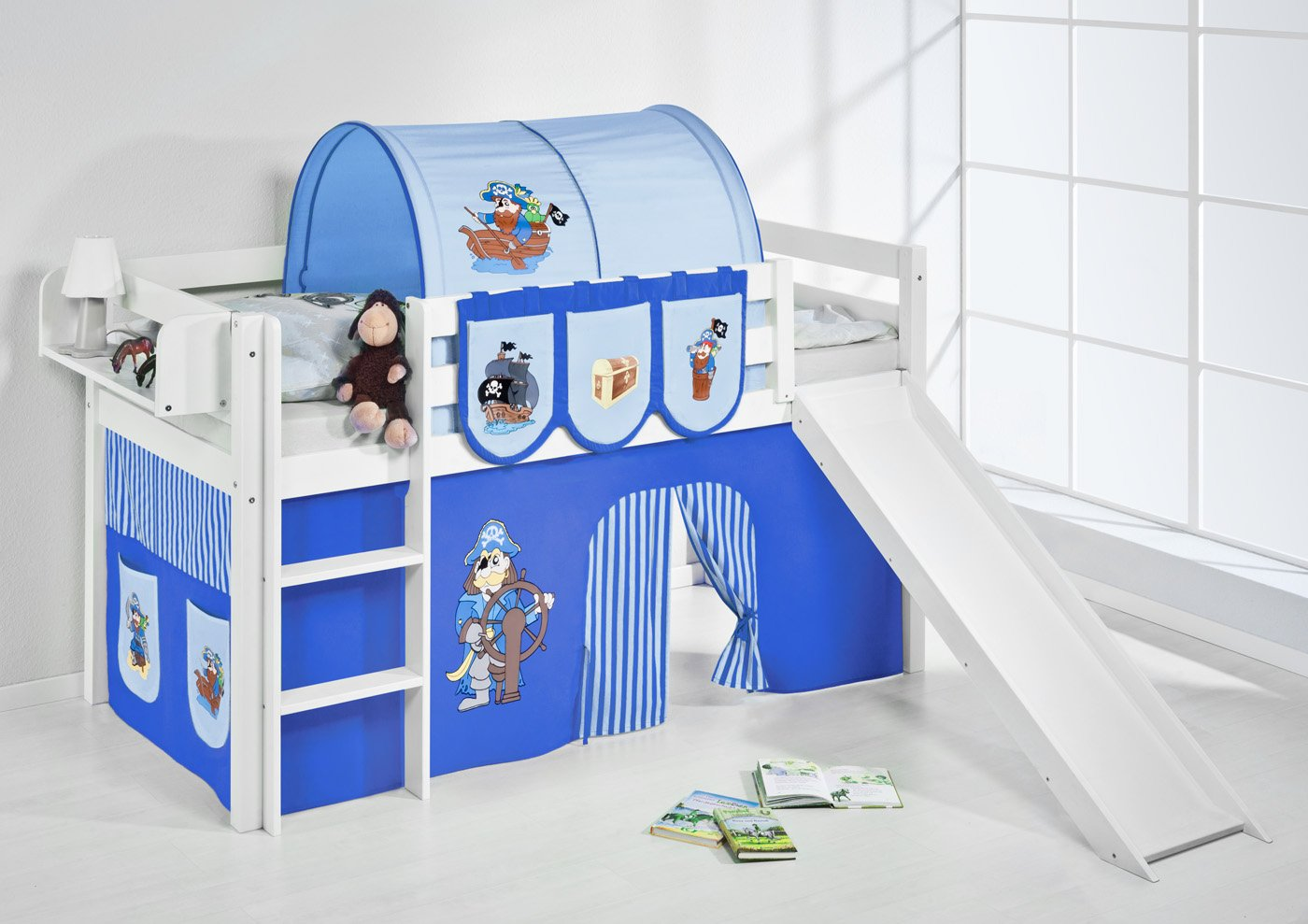 Kinderbett junge pirat  Lilokids Spielbett Jelle mit Rutsche und Vorhang Kinderbett, Holz ...
