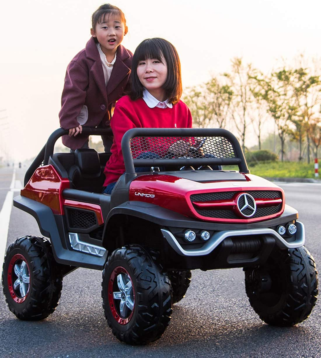 Mercedes Two Seater Unimog Ride On Electric Toy Car for Kids 12V LED Lights MP3 RC Parental Remote Controller Suitable for Boys Girls Black: Toys & Games - Amazon.com