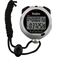 Oslo Robic Siler 60 Sixty Dual Memory Stopwatch with Countdown Timer, Backlight, and Temperature, Silver