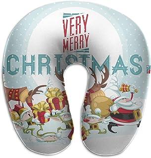 Miedhki Multifunctional Neck Pillow Merry Christmas U-Shaped Soft Pillows Portable for Sleeping Travel New1