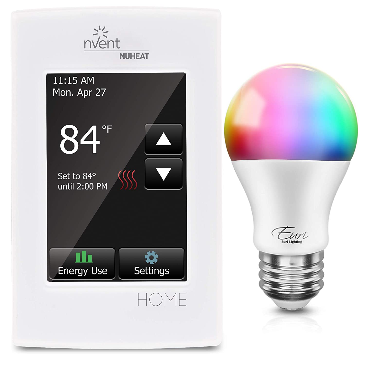 Nuheat Home Programmable Dual-Voltage Thermostat with Touchscreen with Optional Euri WiFi Smart Bulb (NuHeat Programmable Thermostat with Euri Wifi Smart Bulb)