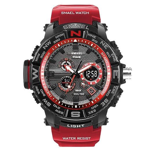 Daesar Reloj Hombre Reloj Multifunción Reloj Impermeable Reloj Deporte al Aire Libre Reloj Deportivo Reloj de Estudiante Relojes Electronicos Rojo: ...