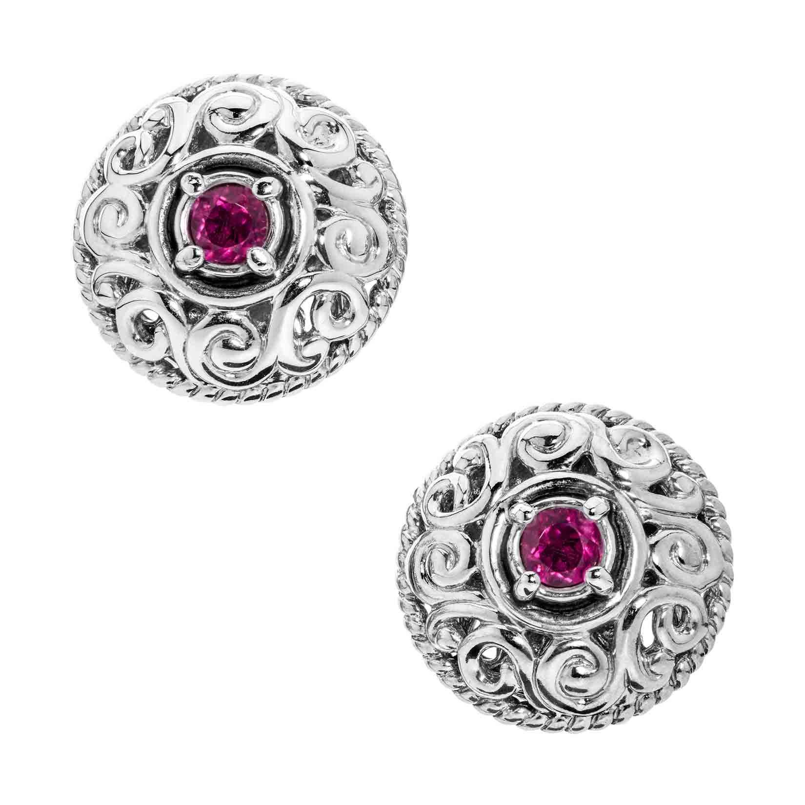 Carolyn Pollack Genuine .925 Sterling Silver Pink Tourmaline Birthstone Button Earrings