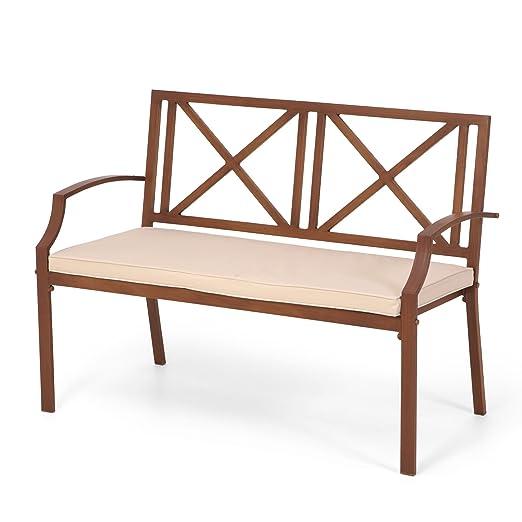 Canberra 2 asiento madera pintura efecto banco con cojín ...