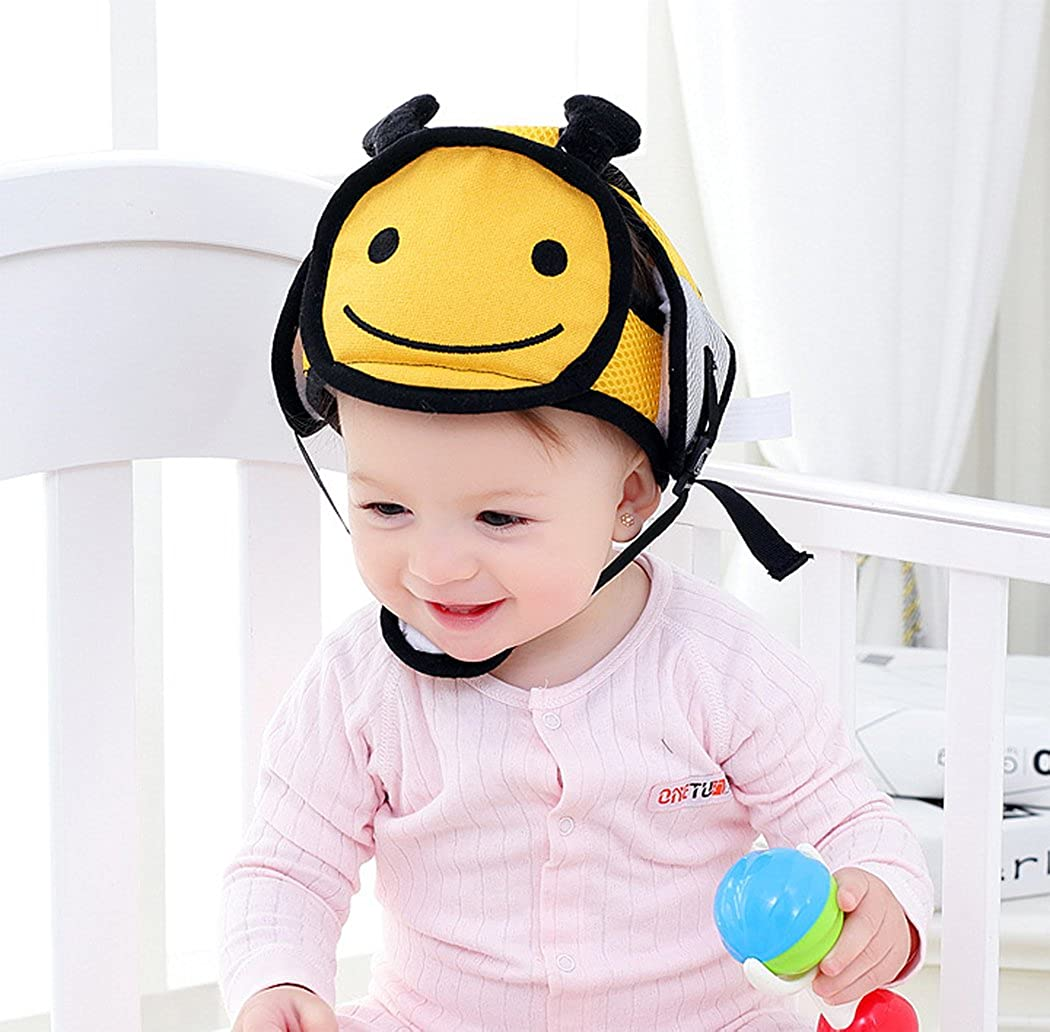 Hillento Casco de Seguridad del bebé, los Niños Infantiles del Niño Anti-Colisión Frontal Tapa Protectora, arneses Ajustables Protector de Cabeza sin Colchón Golpes de Cabeza Oso