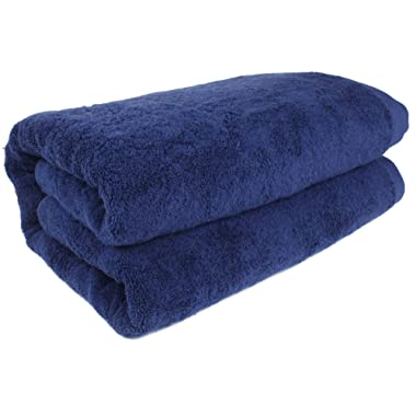 SALBAKOS 40 x80  Turkish Cotton Bath Sheet, Luxury, Eco-friendly Large Oversized (40x80, Navy)