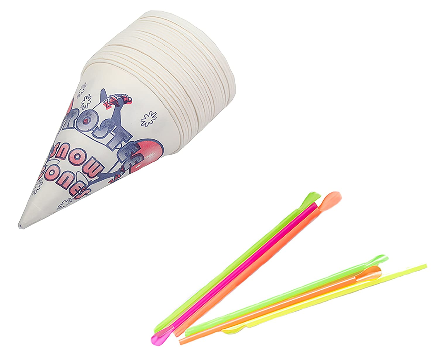 Perfect Stix Snow ConeStraws 100 Snow Cone Cups and Assorted Neon Straws 100 Count of Each Pack of