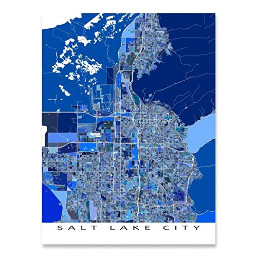 Salt Lake City On Us Map.Amazon Com Salt Lake City Map Print Utah Usa Blue Art Poster