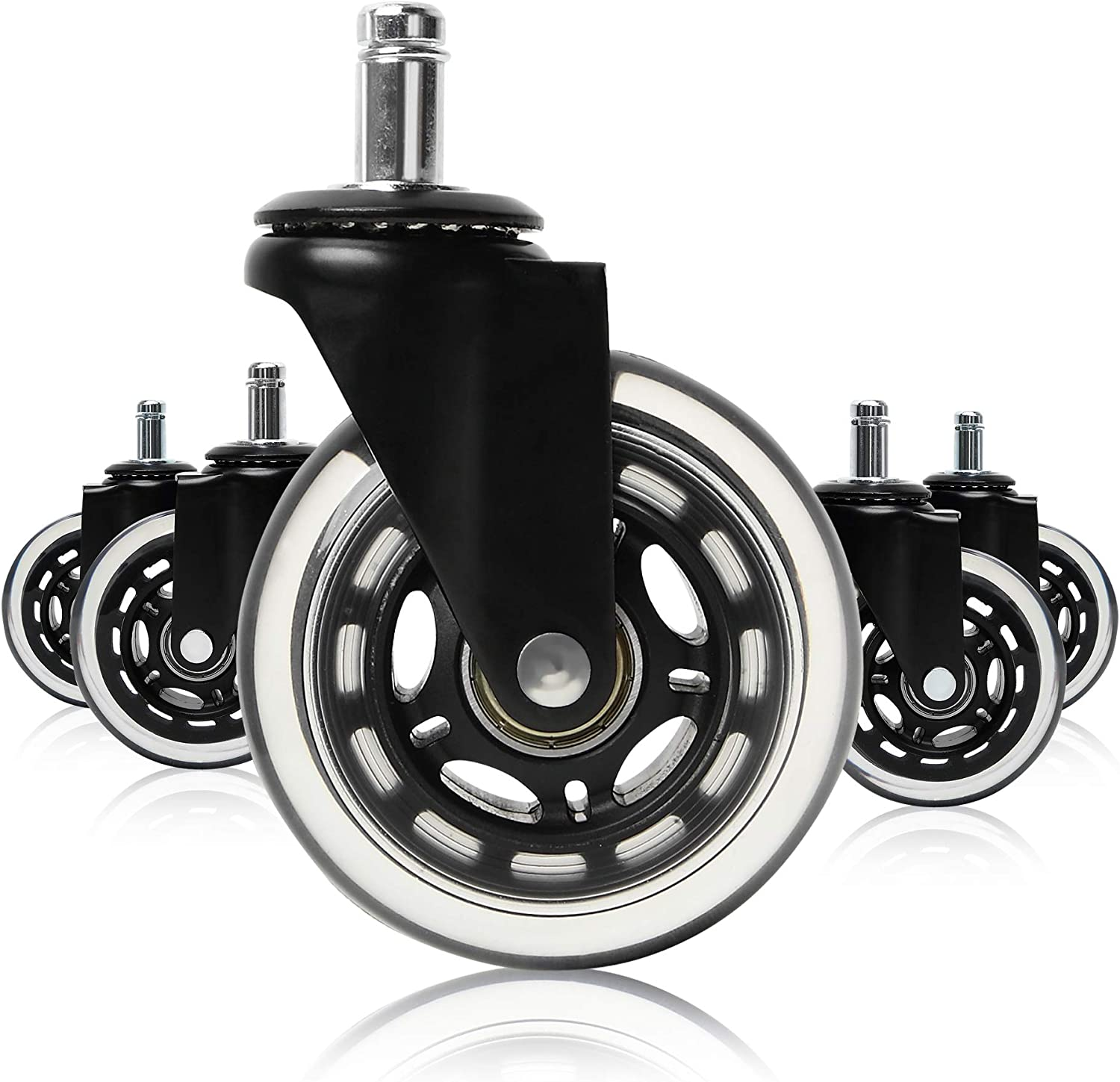 MOPHOTO Office Chair Wheels Black Replacement Rubber Chair casters for Hardwood Floors and Carpet, Set of 5, Replace Chair mats - Universal fit: Automotive