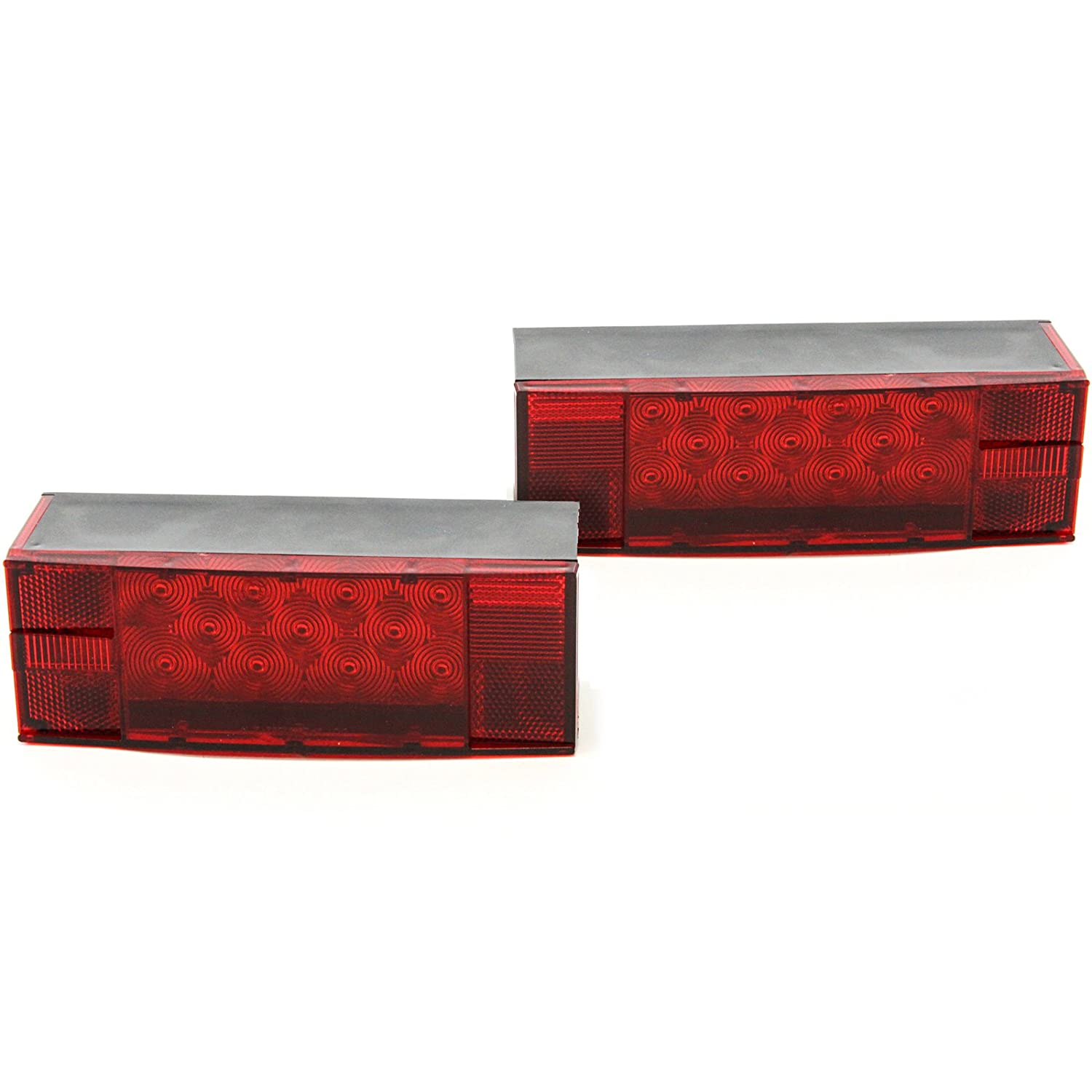 LED Low Profile Red Trailer Turn/Signal/Stop 2 Light L/R Submersible DOT Over 80 Red Hound Auto