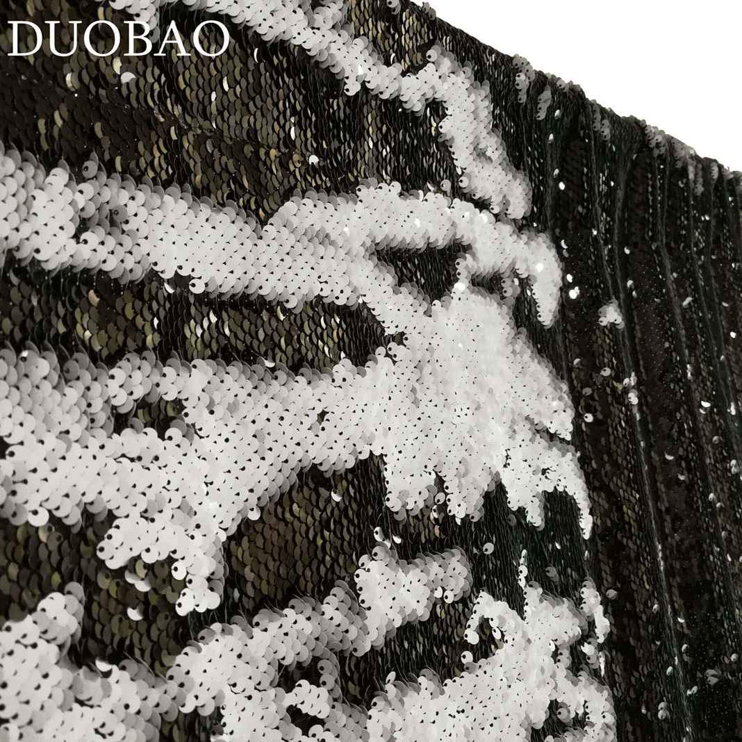 DUOBAO Sequin Backdrop 8Ft Mermaid Sequin Curtains Black to White Reversible Shimmer Backdrop 6FTx8FT Sparkle Photo Backdrop by DUOBAO (Image #4)