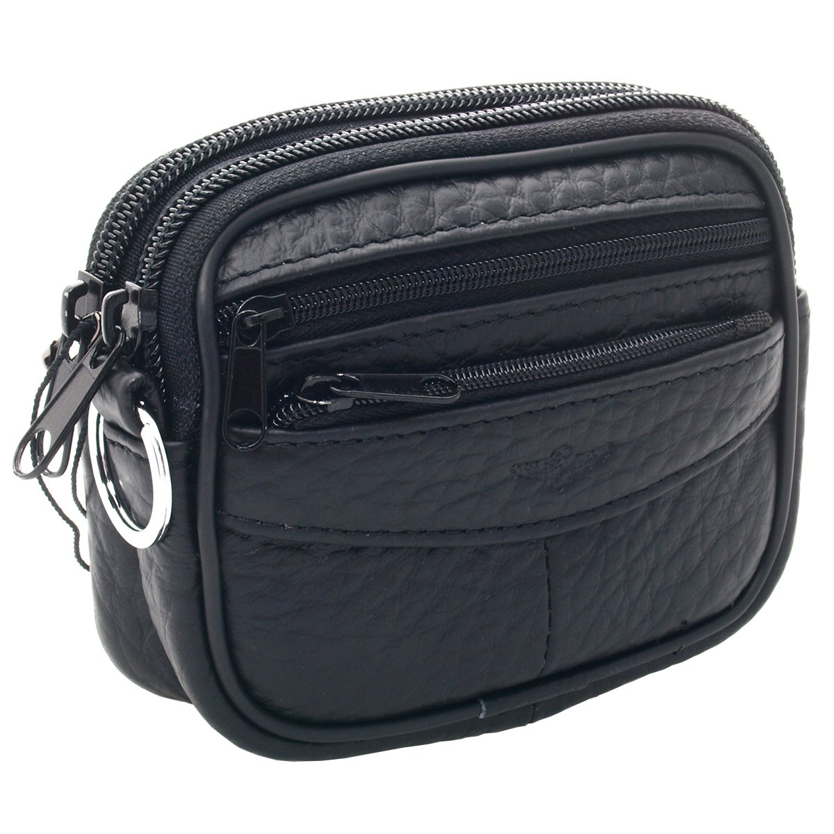 New Unisex Leather Small Waist Bag Wallet Coin Pocket Belt Loops Purse (Black)