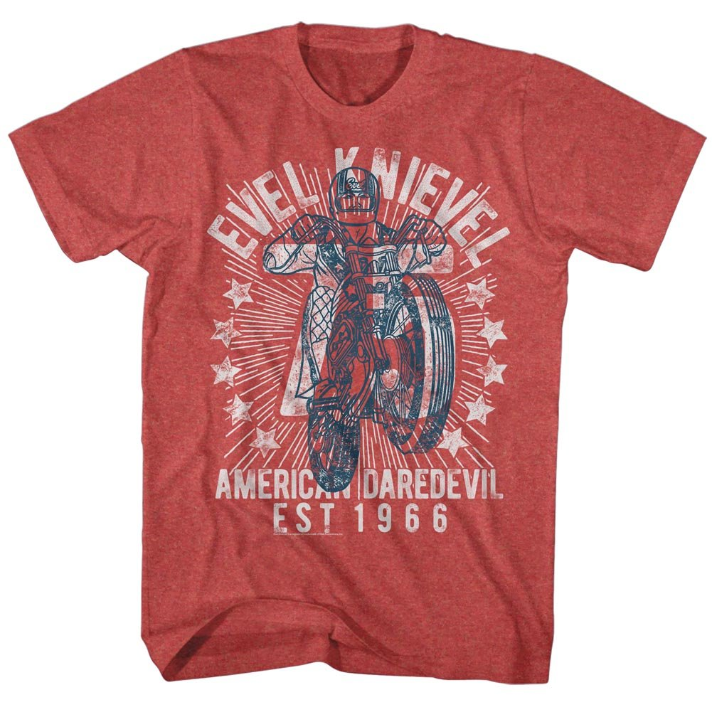 Evel Knievel - Mens Seventy Five! T-Shirt, Size: X-Large, Color: Red Heather by Evel Knievel (Image #1)