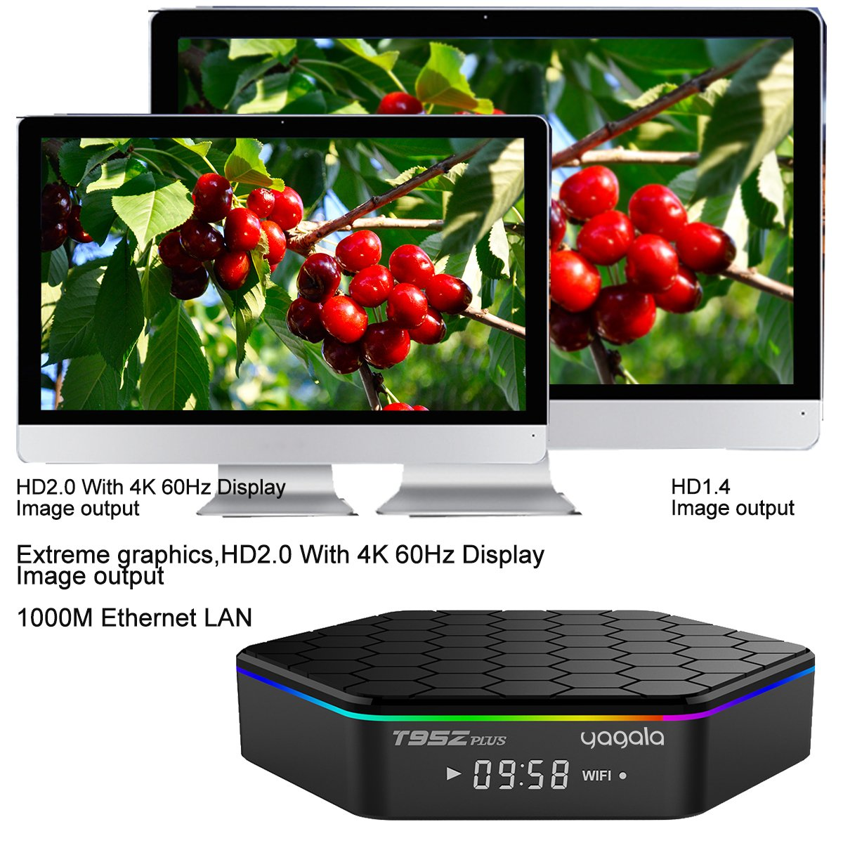 YAGALA T95Z Plus Android 7.1 TV Box Amlogic S912 Octa Core 3GB/32GB Dual Band WiFi 2.4GHz/5.0GHz 4K HD TV Box with Backlit Mini Wireless Keyboard by YAGALA (Image #3)
