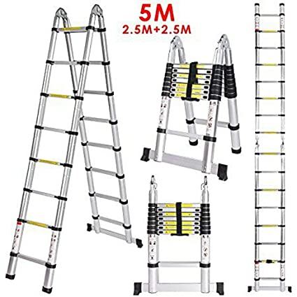 Smarty Double Telescopic Mag Hinge and Dual Ultra Stabilizer Portable Aluminium Ladder, 5m /16.5ft