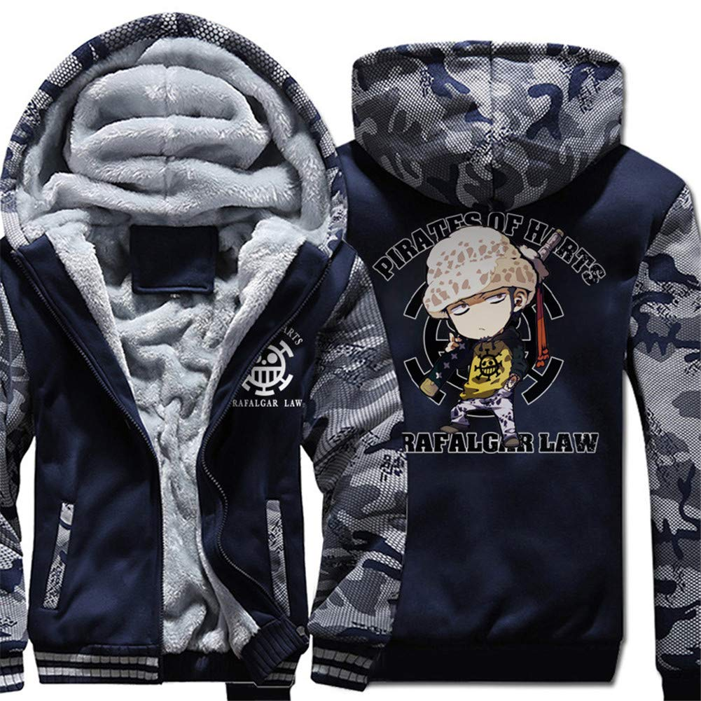 Gumstyle One Piece Anime Thicken Hoodie Sweatshirt Unisex Camo Outwear Zip Jacket 7-L