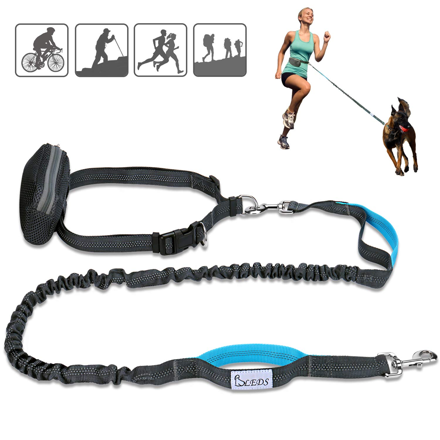 BLEDS Retractable Hands Free Dog Leash, Durable Dual Handles Bungee Leash for Up to 150 lbs Dogs, Extendable Leash for Running Walking Hiking Training, Comes with a Waist Pouch