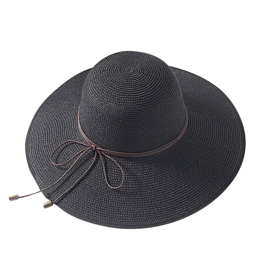 XiongBuy Women Colorful Big Brim Straw Bow Hat Sun Floppy Wide Brim Hats Beach Cap Ladies Outdoor Beach hat