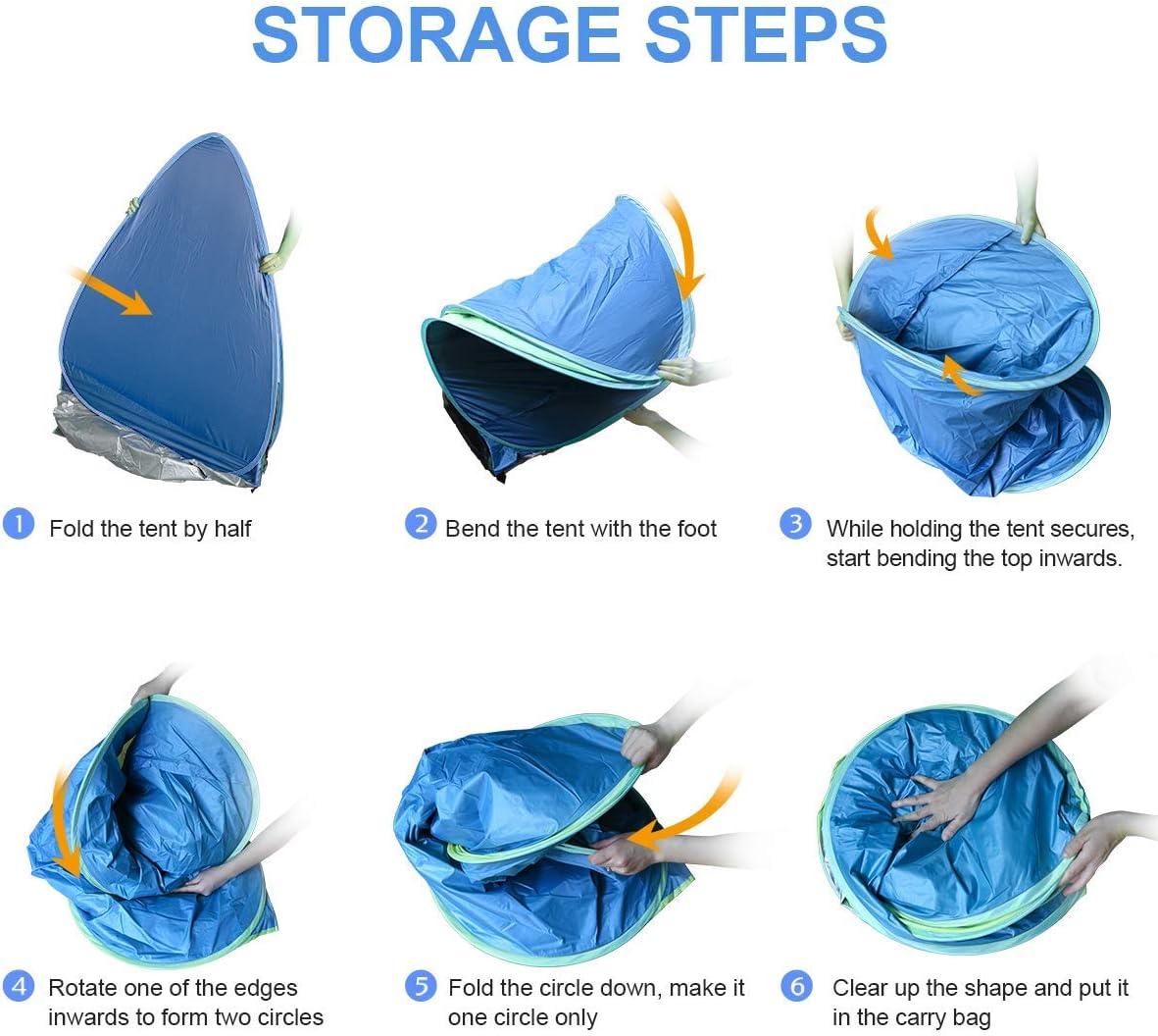 Pop-up Tenda Portatile per Famiglia Fino a 2-3 Persone BACKTURE Tenda da Spiaggia Protezione UV Tenda Resistente allAcqua Ventilato con Porta Cerniera per la Famiglia per Campeggio Pesca Giardino