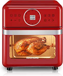 REDMOND Air Fryer, 14.8QT Air Fryer Oven 12-in-1, 1700W Electric Air Oven with LED Digital Touchscreen and Temperature Control, Toaster Oven with 7 Accessories, Red, AF008