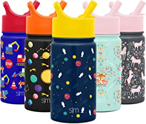 Simple Modern 14oz Summit Kids Water Bottle Thermos with Straw Lid - Dishwasher Safe Vacuum Insulated Double Wall Tumbler Travel Cup 18/8 Stainless Steel - Astronauts