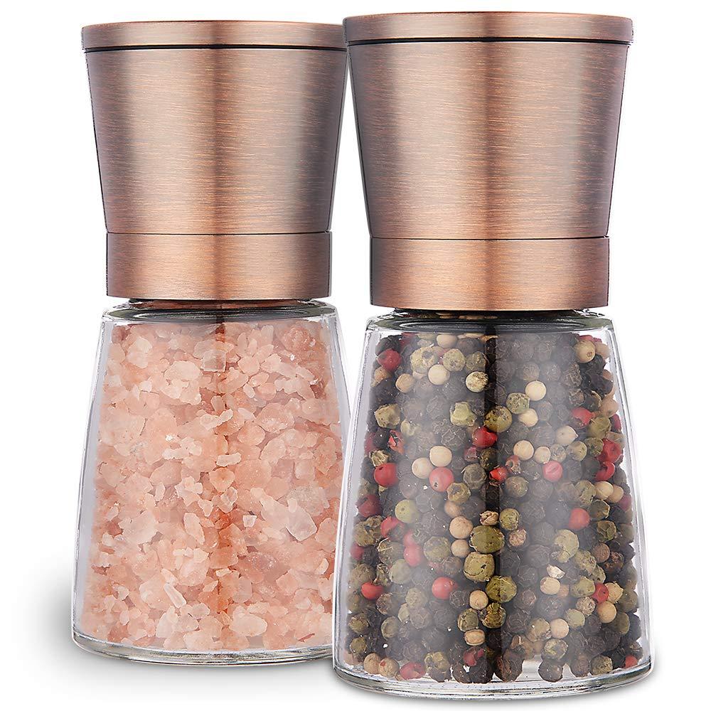 VIVIDA Copper Salt and Pepper Grinder Set - Magnetic Lids - Adjustable Ceramic Coarseness - Glass Jar