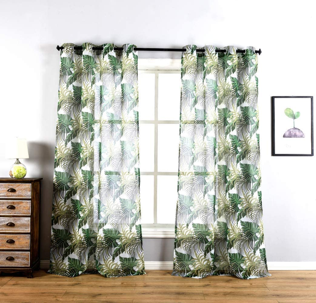 Green Monstera Leaf Print Curtains for Home Decoration Polyester Fabric Semi Sheer Curtains Set Boys Nursery Living Room Décor,Bedroom Window Drapes 2 Panel Set,Grommet Top Style,52 by 63-Inch