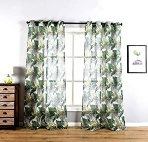 "sgofais Home Fashions Indoor/Outdoor Grommet Top Single Patio Curtain Tropical Bahamas Leaf Print Semi Sheer Window Drapes 52"" x 84"" (2 Panels)"
