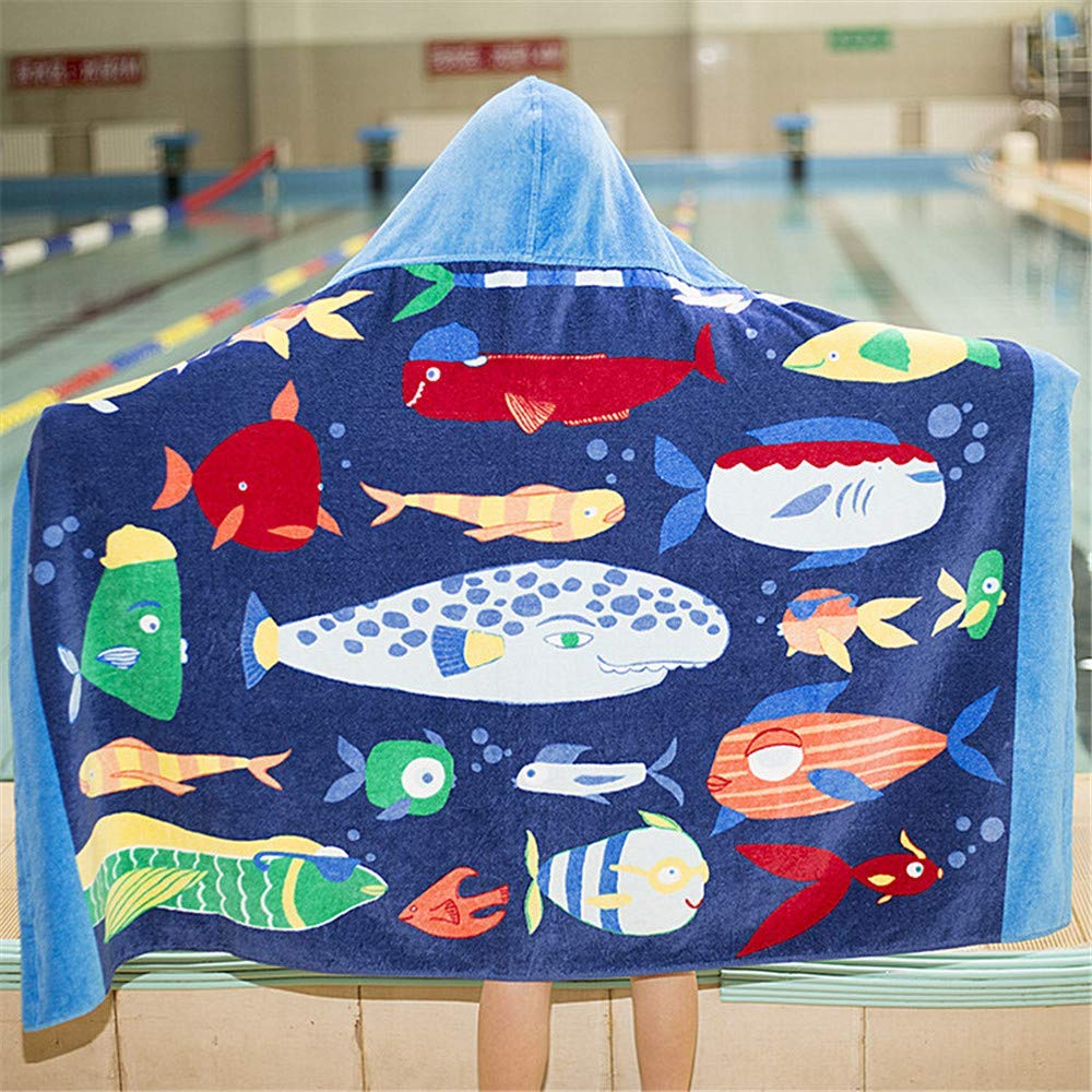 INSHERE Hooded Towel for Kids, Cotton, Use for Children Bath Beach and Pool, Ultra Breathable and Soft for All Seasons, Cute Cartoon Theme, 30X50 inches (Blue Bottom Fish)