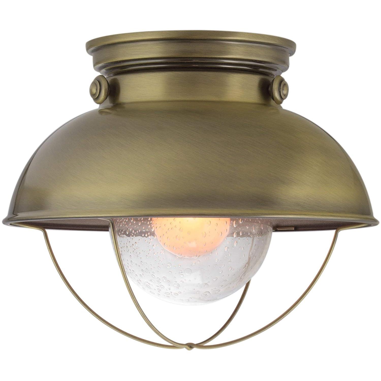 "Kira Home Bayside 11"" Industrial Farmhouse Flush Mount Ceiling Light + Seeded Glass Shade, Antique Brass Finish"