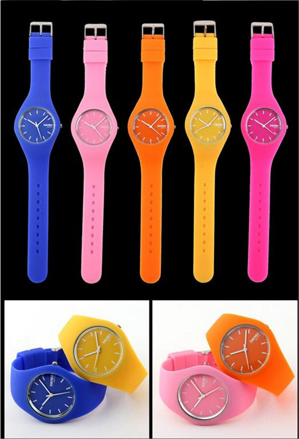 Skmei Fashion Trends Korean Version of The Silica Gel Quartz Ultra-Thin fine Gift Watches(12 Styles) (Rose red) by SKMEI (Image #9)