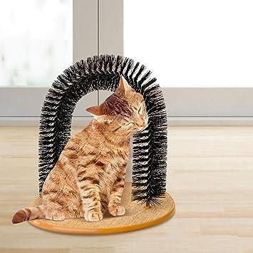 Juguete en forma de arco perfecto para gatos, con un cepillo para que se peinen solos, se rasquen y se masajeen: Amazon.es: Productos para mascotas
