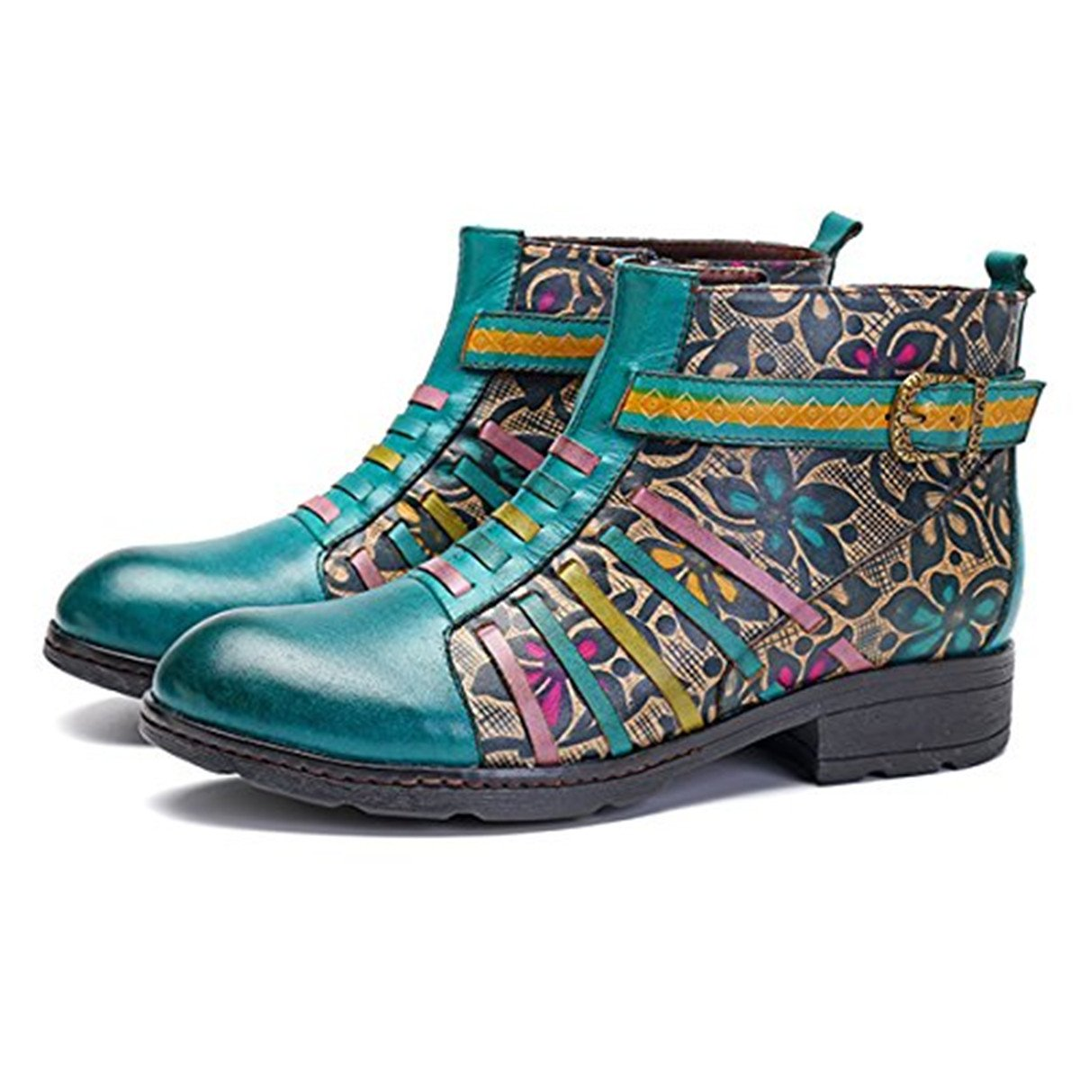89f64e6a504e8 Amazon.com: Socofy Leather Ankle Bootie, Women's Vintage Handmade Flat  Retro Buckle Pattern: Shoes
