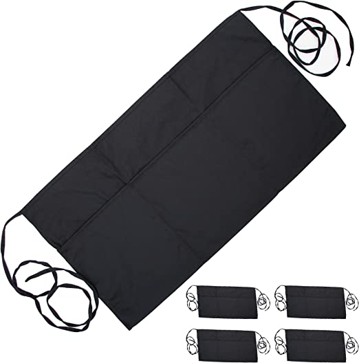 Servers Bartender 5 Pack Commercial Kitchen Use Pomatree Women Cook | Bistro Restaurant Style Half Apron for Men Premium Black Waist Aprons Waiter and Waitress Apron with 3 Pockets and Extra Long Ties