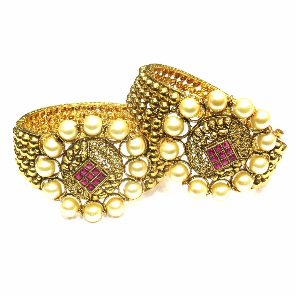 Jewelshingar Jewellery Antique Gold Plated Bangles For Girls ( 16236-m-ruby-2.8 )