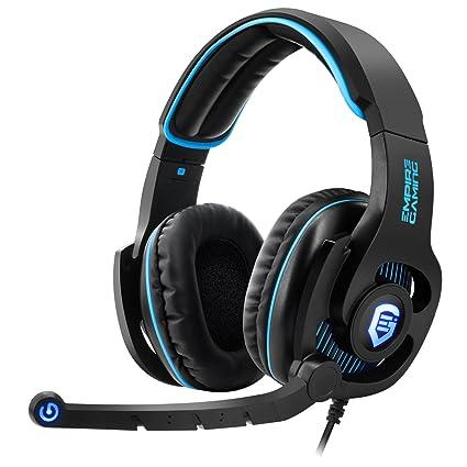 Empire Gaming H1800 - Casco para gamers PC sonido surround 7.1 virtual, mando a distancia filar, micro flexible y auriculares con retroiluminación LED azul.