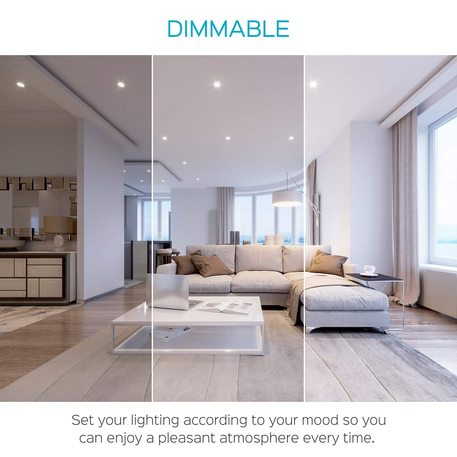 450 Lumens Damp Rated /& ETL Listed Slim Recessed Ceiling Light 7W 4-Pack IC Rated Airtight 5000K Bright White Dimmable Luxrite 3 Inch Square Ultra Thin LED Recessed Light with Junction Box
