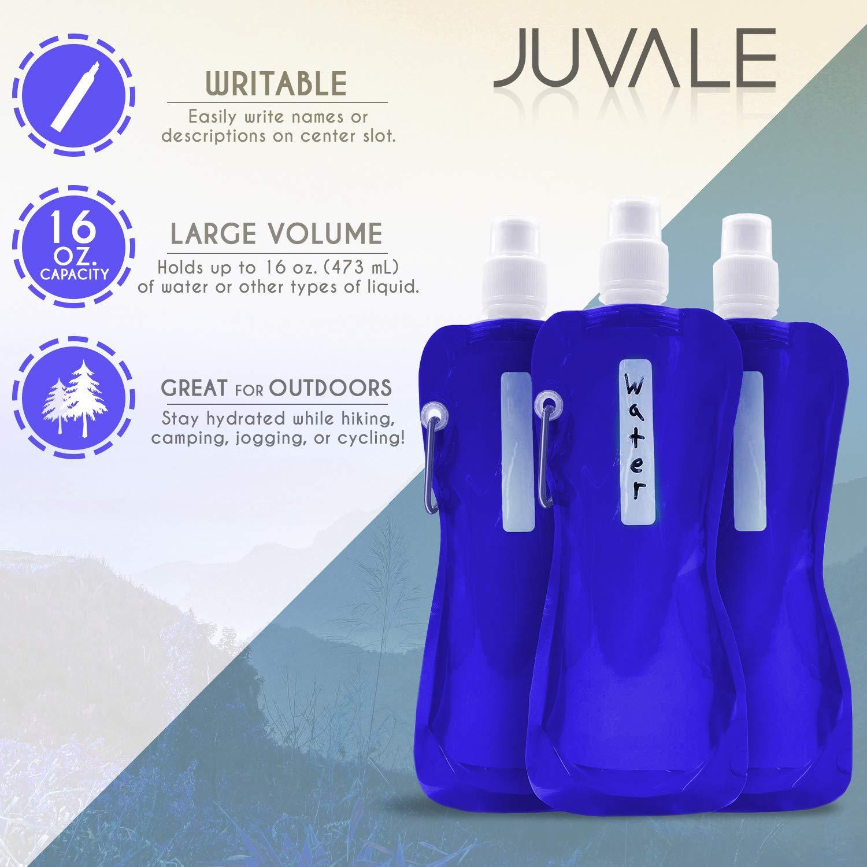 color azul /6/unidades 16/oz Botellas de BPA libre Canteen/ /Cantimplora con mosquet/ón plegable para viajes Plegable botella de agua/
