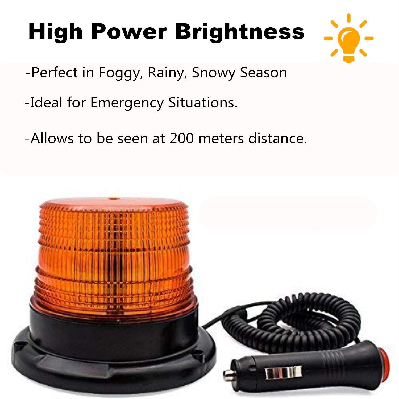 Base Magnetica per Auto Camion Barca Rosso Mioke Luce di Emergenza 24V Lampeggiante a LED stroboscopiche,Accendisigari 12V