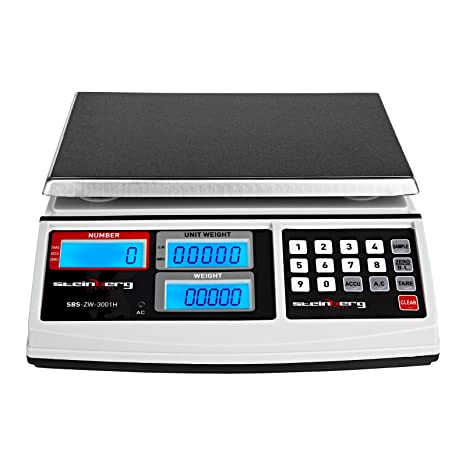 Steinberg Systems SBS-ZW-3001H Balanza Cuentapiezas Bascula Digital Balanza Comercial (30 kg / 1 g, Plataforma 26 x 21 cm, LCD, incl.