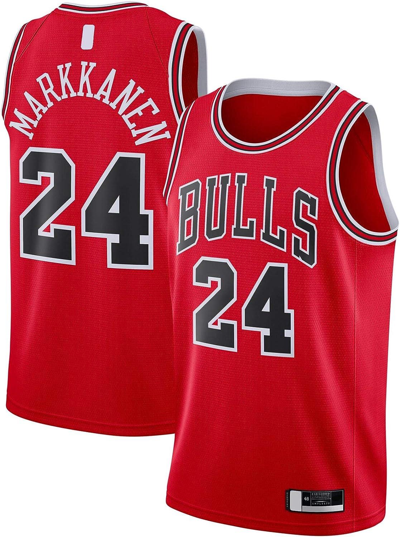 ANMOQI Camiseta de baloncesto Markkanen bordado para exteriores de Chicago Clothing Lauri # 24 2020//21 Swingman Bulls Icono Edition