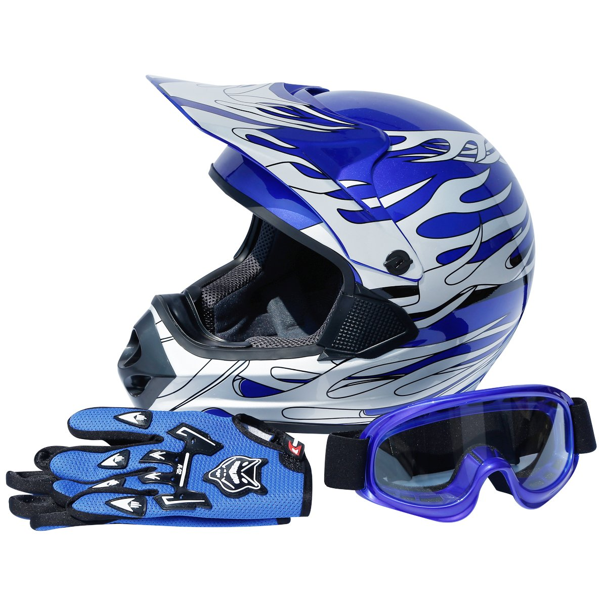 TCMT DOT Certified Youth Blue Flame Dirt Bike ATV MX Motocross Offroad Street Motorcycle Helmet Goggles Gloves XL